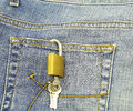 Jeans pocket closeup padlock Royalty Free Stock Photos
