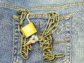 Jeans pocket closeup padlock Stock Images