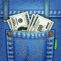 Jeans Pocket with Dollar Bills Stock Photography