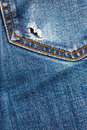 Jeans pocket with hole Royalty Free Stock Photo
