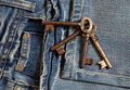 Jeans, pocket, keys detail Stock Images