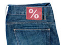 Jeans with Sale Symbol Royalty Free Stock Photos