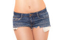 Jeans shorts fits her well close up on woman in isolated on white Stock Photos