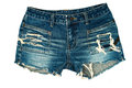 Jeans shorts on a white background Royalty Free Stock Image
