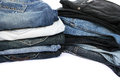 Jeans stack of colorful isolated on white background Stock Image