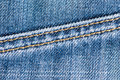 Jeans texture with yellow fibre Stock Photos