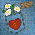 Jeans valentine card with heart and flowers Royalty Free Stock Photo