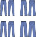 Jeans vector illustration set of womens front and back views different silhouettes Royalty Free Stock Images