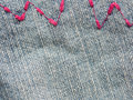 Jeans zig zag background with stitches Stock Photos