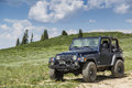 Jeep on a mountain in utah castle dale june wrangler rubicon back country four wheel drive trail along s skyline drive Stock Images