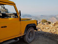 Jeep and view of Landscape in Turkey Royalty Free Stock Photo