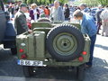 Jeep willis back view of car at spring retro parade in bucharest romania Stock Photo