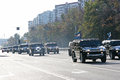 Jeeps moscow russia october a few accompany olympic torch relay on people of moscow Stock Photo
