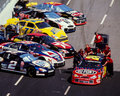 Jeff gordon pit stop in the car gets tires and fuel image taken from color negative Stock Image