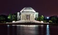 Jefferson memorial at night visiting tourists the in washington d c Stock Photos