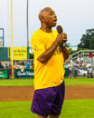 Jeffrey osborne sings the national anthem singer signs before start of foundation celebrity softball game Stock Images
