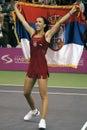 Jelena Jankovic with Serbian flag