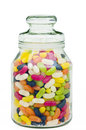 Jelly beans in a candy glass jar Royalty Free Stock Photo