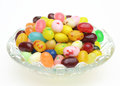 Jelly beans in a glass bowl Royalty Free Stock Photo