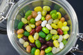 Jelly beans in a glass jar Royalty Free Stock Photo