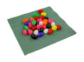 Jelly beans green napkin a variety of colorful on a Royalty Free Stock Image