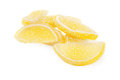 Jelly candies yellow on a white background Royalty Free Stock Photos