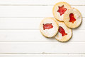 Jelly christmas cookies top view of on white wooden table Stock Images