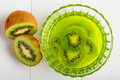 Jelly with kiwi flavor top view on in glass bowl on white background Royalty Free Stock Photography