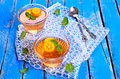 Jelly orange in a glass container on a wooden surface selective focus Royalty Free Stock Photography