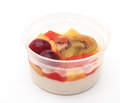 Jelly pudding fruit salad on white Royalty Free Stock Photos