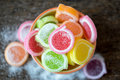 Jelly sweet, flavor fruit, candy dessert colorful in ceramic bow Royalty Free Stock Photo