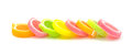 Jelly sweet, flavor fruit, candy dessert colorful on white backg Royalty Free Stock Photo