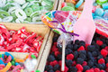 Jellybeans and candies colorful on market stall Stock Images