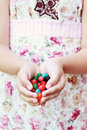 Jellybeans in hand Royalty Free Stock Photo