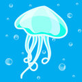 Jellyfish cute cartoon illustration background Royalty Free Stock Photo