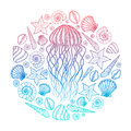 Jellyfish and shells in line art style. Hand drawn vector illustration. Design for coloring book. Set of ocean elements