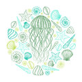 Jellyfish and shells in line art style. Hand drawn vector illustration