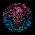 Jellyfish and shells in line art style. Hand drawn vector illustration. Set of ocean elements