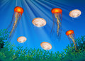 Jellyfish swimming under the ocean Royalty Free Stock Photo