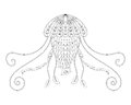 Jellyfish vector illustration. Hand drawn sea animal for adult anti stress coloring book, page in zentangle style.