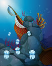 Jellyfishes under the sea with a wrecked ship illustration of Stock Photo