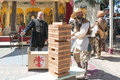 Jenga classic game during the Renaissance Pleasure Faire. Royalty Free Stock Photo