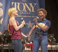 """Jenn colella and lachanze sing love while you can from if then at """"stars in the alley """" a free outdoor concert produced by the Stock Photos"""
