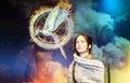 Jennifer lawrence the hunger games s heroine katniss everdeen stars as 'katniss everdeen' in Royalty Free Stock Image