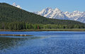Jenny Lake in front of Mount Moran of the Grand Tetons in Wyoming USA Royalty Free Stock Photo