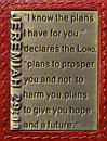 Jeremiah the bible verse written on a bronze plaque that has been fitted into leather Royalty Free Stock Photos