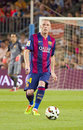 Jeremy mathieu of fc barcelona fcb in action at gamper friendly match between and club leon final score on august in camp nou Royalty Free Stock Photography
