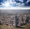 Jersey city nj spectacular aerial view from helicopter Royalty Free Stock Images
