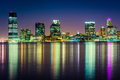 The jersey city skyline at night seen from pier manhattan new york Stock Image