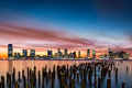 Jersey City skyline at sunset Royalty Free Stock Photo